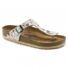 Birkenstock Gizeh Meadow Flowers Beige Birko Flor Soft Footbed