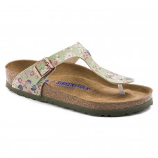 Birkenstock Gizeh Meadow Flowers Khaki Birko Flor Soft Footbed