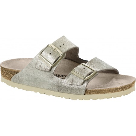 Birkenstock Arizona Leather Washed Metallic Cream Gold