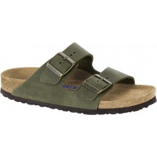 Birkenstock Arizona Leather Steer Khaki Soft Footbed