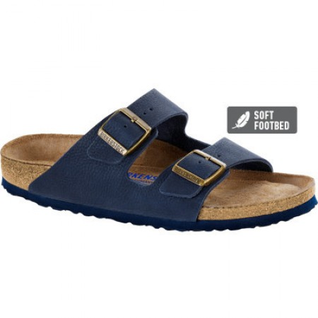 Birkenstock Arizona Leather Steer Indigo Soft Footbed